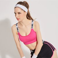 Wholesale Modal Cup Bra - Yoga Sports Bra Running Shockproof Lingerie Bra Strap Wrapped Letters Printing Sports Wear