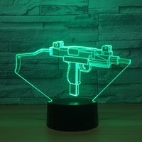 Wholesale Optical Machines - 3D Machine gun Optical Illusion Lamp Night Light DC 5V USB Powered AA Battery Wholesale Dropshipping Free Shippin