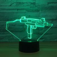 3d üst tabanca toptan satış-3D Makineli tüfek Optik Illusion Lamba Gece Lambası DC 5 V USB Powered 5th Pil Toptan Dropshipping Ücretsiz Denizcilikte