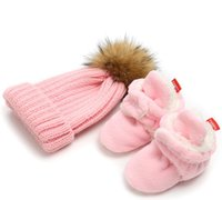 ingrosso stivaletti di natale del bambino-2018 New Infant Toddler Baby Knitting Hat Baby Boots Inverno Keep Warm Sets Neonati maschi ragazze Cotton Booties di Natale