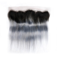 Wholesale Indian Remy Lace Frontals - 1b Grey Straight Hair Lace Frontals Ombre Brazilian Hair 13x4 Lace Frontal Closure 100% Non Remy Human Hair 8-22Inch