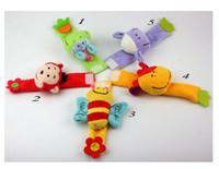 Wholesale bee plush toy - Baby Plush Wrist Strap Bebe Bee Monkey Cow Sheep Infant Soft Handbells Rattles For Boy Girl Kids Finders Developmental Toy