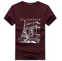 Wholesale eiffel shirt - Men's Clothing Tees Homme TShirt Men T-Shirt Short Sleeve Eiffel Tower Clothes Printed Cartoon Tee Shirt Casual Cotton