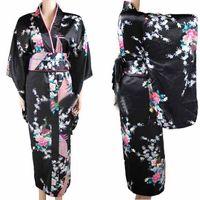 siyah japonya elbisesi toptan satış-Yeni Varış Siyah Vintage Japon kadın Kimono Haori Yukata Ipek Saten Elbise Mujeres Quimono Peafowl Bir Boyut H0030
