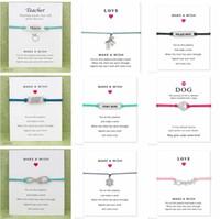 ingrosso carte d'amore di halloween-Desideri Bracciale Con Carta Regalo Cane Zampa Amore Unicorno Insegnante Fascino Bracciali Braccialetti per donne Uomini Amicizia dichiarazione gioielli biglietti di auguri
