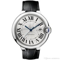 Wholesale delicate watches - New Luxury Mens Watch 100 XL Watch Automatic BALLON black leather white face 316 Delicate Steel case Sports original clasp WristWatches