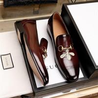 sapatos de grife italianos venda por atacado-Homens sapatos de couro genuíno luxo sapatos casuais mocassins slip on italian designer de marca italiana sapatos de vestido flattie casual sapato Tamanho 38-45