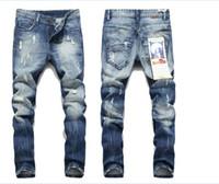 herren beiläufige baggy jeans großhandel-Kanye West Herren Stretchhose Baggy Jeans Ripped Hole Herren Slim Fit Jeans Denim Spijkerbroek Lässige Jeanshose beckham