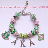 2a78d8fb9 AKA Pink Bead Green Charms Bracelet Alpha Kap Alpha Sorority Jewelry  Bracelet