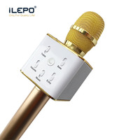 Wholesale Ktv Computer Microphone - Handheld Q7 Microphone Magic KTV Wireless Speaker with Mic Handheld Loudspeaker Portable Karaoke Player bluetooth speakers For cell phone