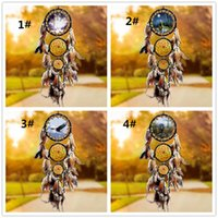 ingrosso sogni di auto-Dream Catcher net con piume di lupo Handmade Wall Hanging Decoration Ornament Car Home Hanging Hoops Craft Dreamcatcher C227