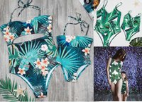 Wholesale swimsuit mother - Family Beach Bikini Sets Holiday Swimsuits Mother Daughter Family Matching Leaf Print one piece Bikinis Free Ship