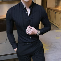 2a7e1806301 British Style High Quality Men Shirt Brand New Slim Fit Solid Casual Dress  Shirts Mens Long Sleeve Cotton Business Blouse Homme