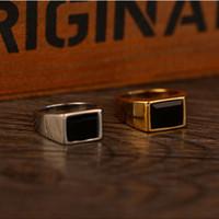 элегантные украшения для мужчин оптовых-Elegant Square Black Onyx Stone Band Ring Men In Titanium Stainless Steel Gold/Silver Color Fashion Mens Jewelry Top Quality