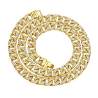 Wholesale long cuban link chain - Hip Hop 18K Yellow Gold Plated Long Chain Necklace with AAA CZ Paved for Men Jewelry Silver Cuban Link Chain Necklaces Men's Jewelry