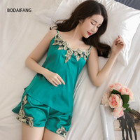 BODAIFANGLadies Sexy Silk fashion Satin Pajama Set Lace Pyjama Pijama Set  V-neck Sleepwear Summer Home Wear Sleep Wear For Women 4f84385c4