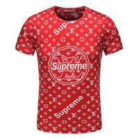 Wholesale fashion screen printing - 2019 Wholesale clothing G**g Men's T-Shirts Full screen tiger printing hip hop clothing mens designer shirts plus size blue Khaki