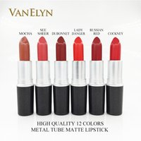 Wholesale good long lasting lipstick resale online - Matte Lipstick Good Quality Luster Lipstick Metal Tube RUBY WOO RUSSIAN RED CHILI Frost Retro Completely Matte Finish Lipstick For Christmas