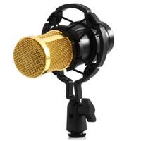 xlr mount großhandel-Kondensatormikrofon Für Computer Verdrahtete 3,5mm XLR Kabel Mit Shock Mount Studio Mikrofon Für PC Karaoke Mic