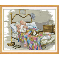 Wholesale Counted Cross - The old married couple Cross Stitch Kits 11CT Printed Fabric 14CT Canvas DMC Counted Chinese Cross-stitch set Embroidery Needlework