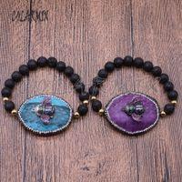 браслеты из змеиной кожи оптовых-3 pieces Black stone bracelets with snakeskin  bracelets micro pave charm bangles 4519
