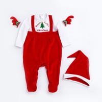 ingrosso camici rossi neonati-Red Christmas Rompers 2018 New Baby Santa Claus tuta + Hat = 2PCS / Set 0-24 mesi neonato neonato maniche lunghe vestiti