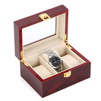 Wholesale gift packs for men - Red Color MDF Wood Watch Storage Box 3 Jewellry Packing Gift Case High Light Wooden Watch Display Organizer Box For Men