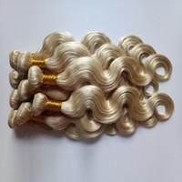 en iyi sarışın uzantılar toptan satış-Brezilyalı bakire İnsan Saç uzantıları # 613 sarışın saç Vücut dalga ucuz toptan fiyat 8-26 inç Hint remy İnsan Saç Atkı 3 adet / grup