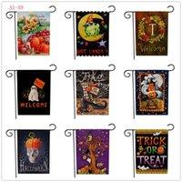 cadılar bayram dekorasyonları açık havada toptan satış-Cadılar bayramı Bahçe Bayrakları Kabak Hayalet Parti Ev Dekorasyonu Açık Asılı Bahçe Bayrakları Cadılar Bayramı Süslemeleri 30 * 45 cm