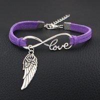 ingrosso amante del fiore viola-Moda viola pelle bracciale bracciale corda argento infinito amore fiore ala braccialetti per le donne uomini gioielli fatti a mano gli amanti pulseras masculina