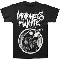 ворон черный оптовых-Неподвижный в белой мужской черной футболке Raven