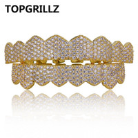 Wholesale grill fitting - TOPGRILLZ Micro Pave Cubic Zircon Custom Fit Gold Silver Color Iced Out Hip Hop Teeth Grillz Top & Bottom Teeth Grills Set