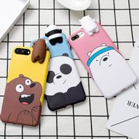 Wholesale case iphone panda pink - Fashion Cute Korean Color Cartoon 3D Bear Panda Soft Silicone Phone Case For iPhone X 6 6s 7 8 Plus Full Cover Case Capa Fundas