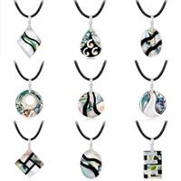 ingrosso handmade shell necklace-2019 Nuova moda gioielli fatti a mano rotonda Paua Abalone Shell collana pendente catena fiori gioielli unici