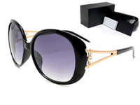 kutu incileri toptan satış-2018 kadın güneş gözlüğü bayan lüks tasarımcı kutusu logo UV400 moda içi boş gözlük ile kadınlar için inci çerçeve güneş gözlüğü kutusu