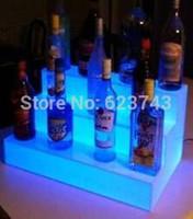 su geçirmez basamaklı ışıklar toptan satış-Su geçirmez Renk değiştirilebilir LED Üç Adımlı Barlar Raflar Tutucu, ışıklı şişe görüntüler bira Sahipleri uzaktan kumanda + Adaptör