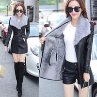 Wholesale ladies leather trench coat - Wholesale- Plus Size Leather Jacket Women Top Fashion New Slim Velvet Pu Jacket Ladies Faux Synthetic Long Leather Trench Coat Female Z669