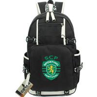 Wholesale team soccer bags online - Sporting Clube de P backpack Club badge school bag Football team daypack Soccer schoolbag Outdoor rucksack Sport day pack