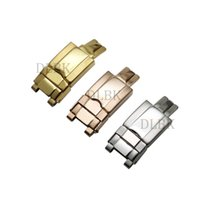 correas de reloj de seguridad de cierre plegable al por mayor-16mm * 9mm Acero Inoxidable Plata Oro Rosa Dorado Plegable Hebilla de Seguridad Reloj Correa de Hebilla Corchete de Despliegue para Rolex