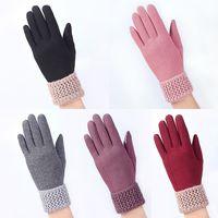 rosa fitnesshandschuhe groihandel-BONJEAN Mode Frauen Winter Handschuhe Gestrickte Handgelenk Beheizte Handschuhe Weibliche Warme touchscreen Fitness driving handschuh schwarz rosa Handschuh