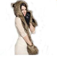 kürk hayvan davlumbazı toptan satış-2018 Yeni Bulanık Sıcak Hayvan Kürk Şapka Eşarp Kabarık Peluş Kap Kulak Hood Şal Eldiven Unisex şapka seti