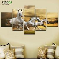 pinturas a óleo de cavalo branco venda por atacado-Canvas Art Wall Imagem Decoração de Casa Sala de estar 5 Painel O Cavalo Branco Cópia Da Lona Moderna Pintura A Óleo Moderna Pinturas