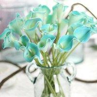 ingrosso fiori viola decorativi di fiori-13PCS Decorative Flowers Wreaths Recensione 34.5cm 9g Fiori artificiali vintage Mini Purple in bianco Calla Lily Bouquets for Bridal
