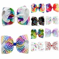 Wholesale accessories designs - 8 inch JOJO bow baby girl hair bows barrettes Rainbow Mermaid Unicorn Design Girl Clippers Girls Hair Clips Baby Hair Accessory
