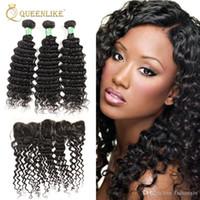 Wholesale Wholesale Hair Online - Unprocessed Brazilian Virgin Human 3 Hair Bundles With 13x4 Lace Frontal Closure Deep Wave 1B Color No Shedding Online Vendors Queenlike 7A