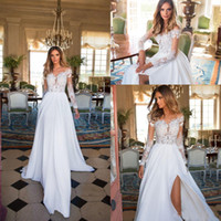 Wholesale nova t shirts - Milla Nova New Sexy Beach Wedding Dresses Chiffon Lace Cheap Sheer Neck Long Sleeves Bride Dress Side Split Long Bohemian Wedding Gowns