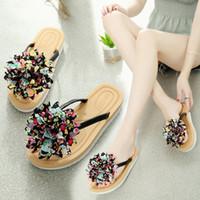 72fbb0a9d81c Casual Concise Outside Women Slippers Summer Floral Fashion Flat Flip Flops  Open Toe Sewing Flower Elegant Sweet Women Shoes
