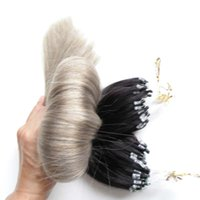 micro boucle anneaux ombre des cheveux humains achat en gros de-Silver Gray Hair Human Extensions Loop 1B Grey Two Tone Ombre Micro Link Hair Extensions 200S Micro Ring Hair Extensions 200g