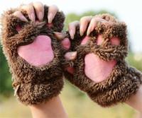 ingrosso guanti da mezza dita-Inverno Lovely Cartoon Paws Mittens For Lady Thickened Villi Warm Guanti Comodo Half Finger Glove Vari colori 4 9hl X