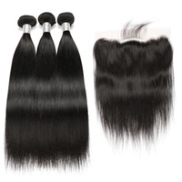fornecedores do weave do cabelo humano venda por atacado-Cabelo Reto brasileiro 3 Pacotes Com Fechamento Frontal 13x4 Orelha A Orelha Lace Frontal Com Bundles Não Transformados Extensões de Cabelo Humano Virgem